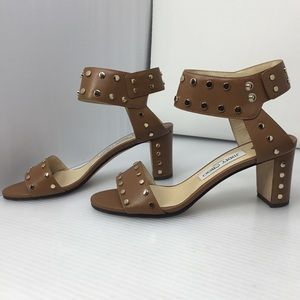 Jimmy Choo Brown Veto Studded Leather Sandals